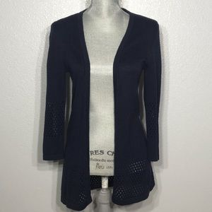 Downeast blue navy open front knit cardigan duster